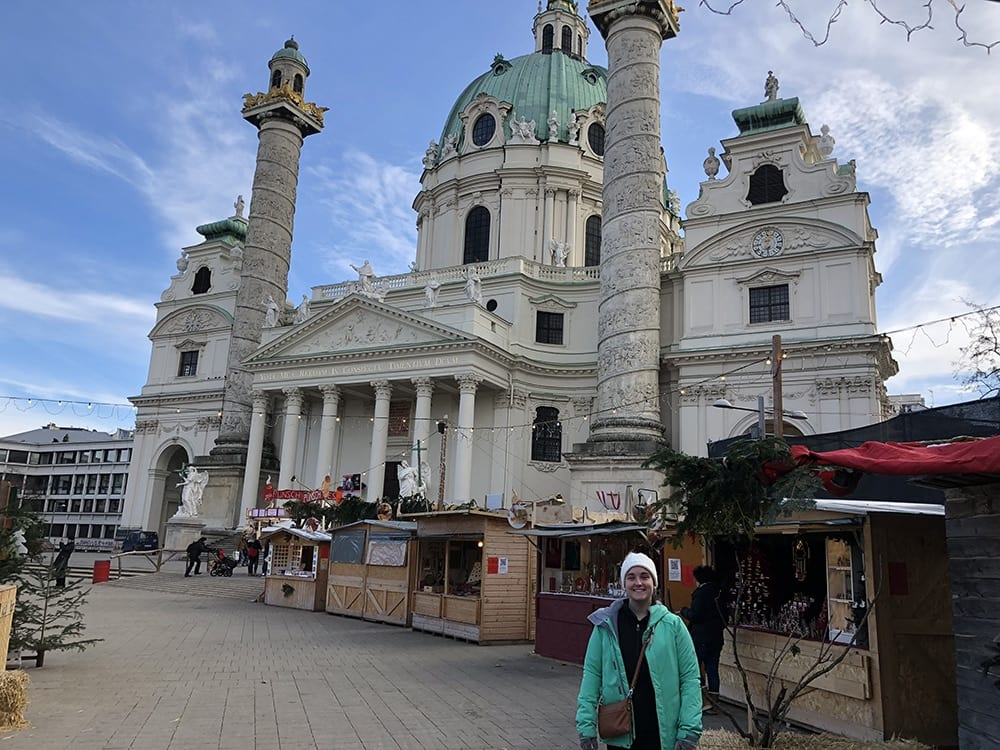 Church in germany with market outside