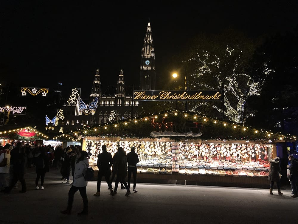 nighttime photo of market in germany